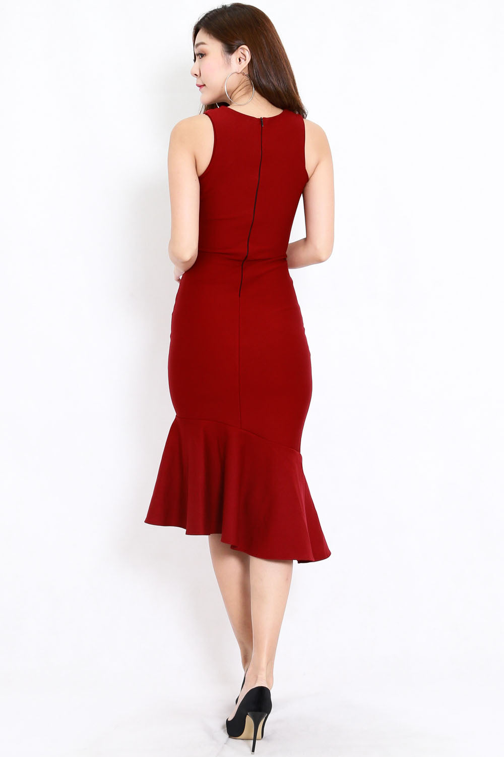 *Premium* Cassia Mermaid Slit Dress (Maroon)