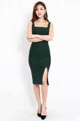 *Premium* Square Neck Slit Midi Dress (Forest Green)