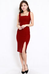 *Premium* Square Neck Slit Midi Dress (Maroon)