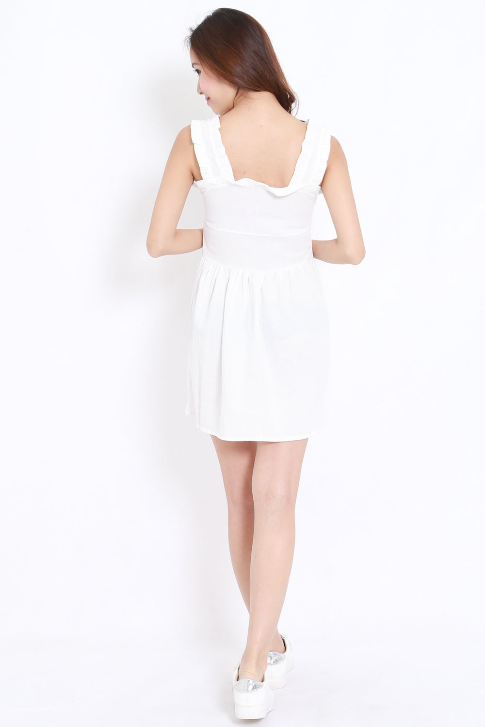 Linen Babydoll Dress (White)