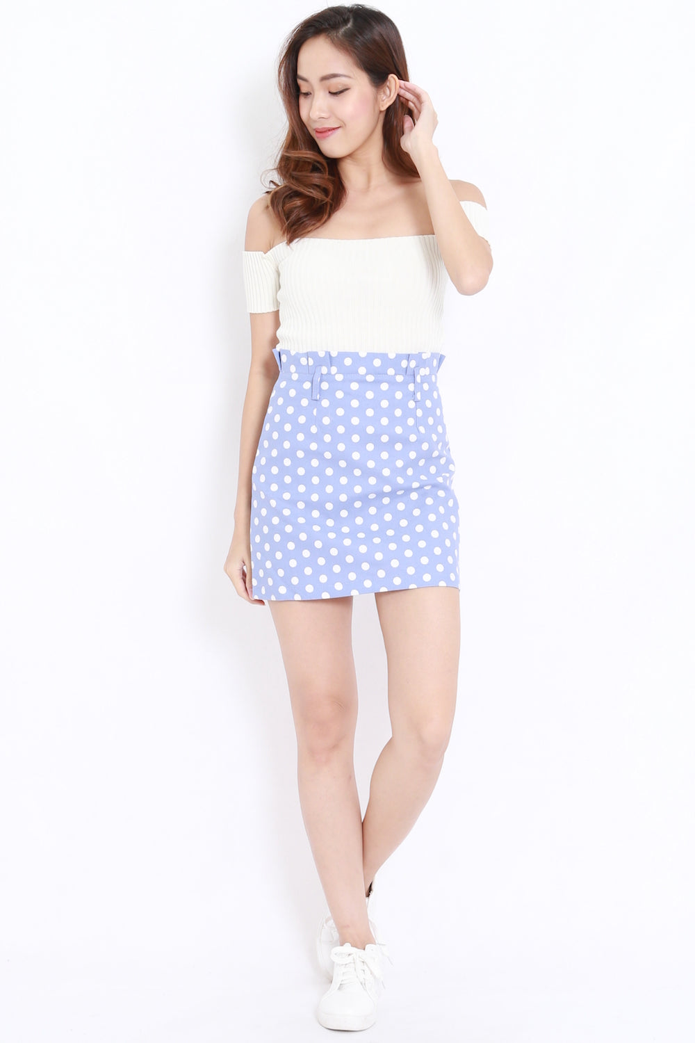 Polkadot High Waist Skirt (Blue)