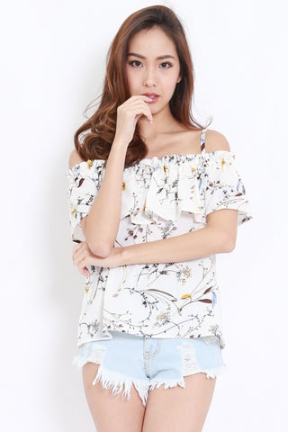 Floral Chiffon Off Shoulder (White)
