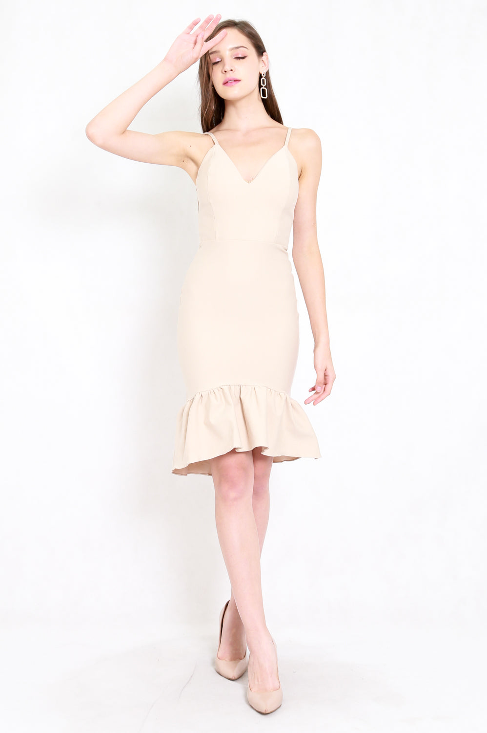 *Premium* Mermaid Frill Midi Dress (Ivory)
