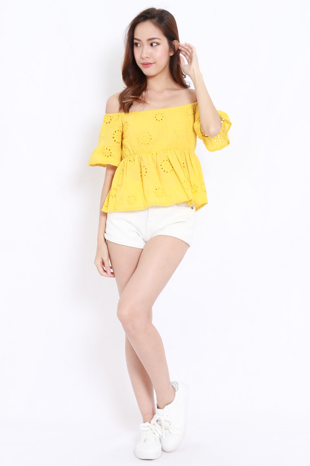 Eyelet Off Shoulder (Yellow)