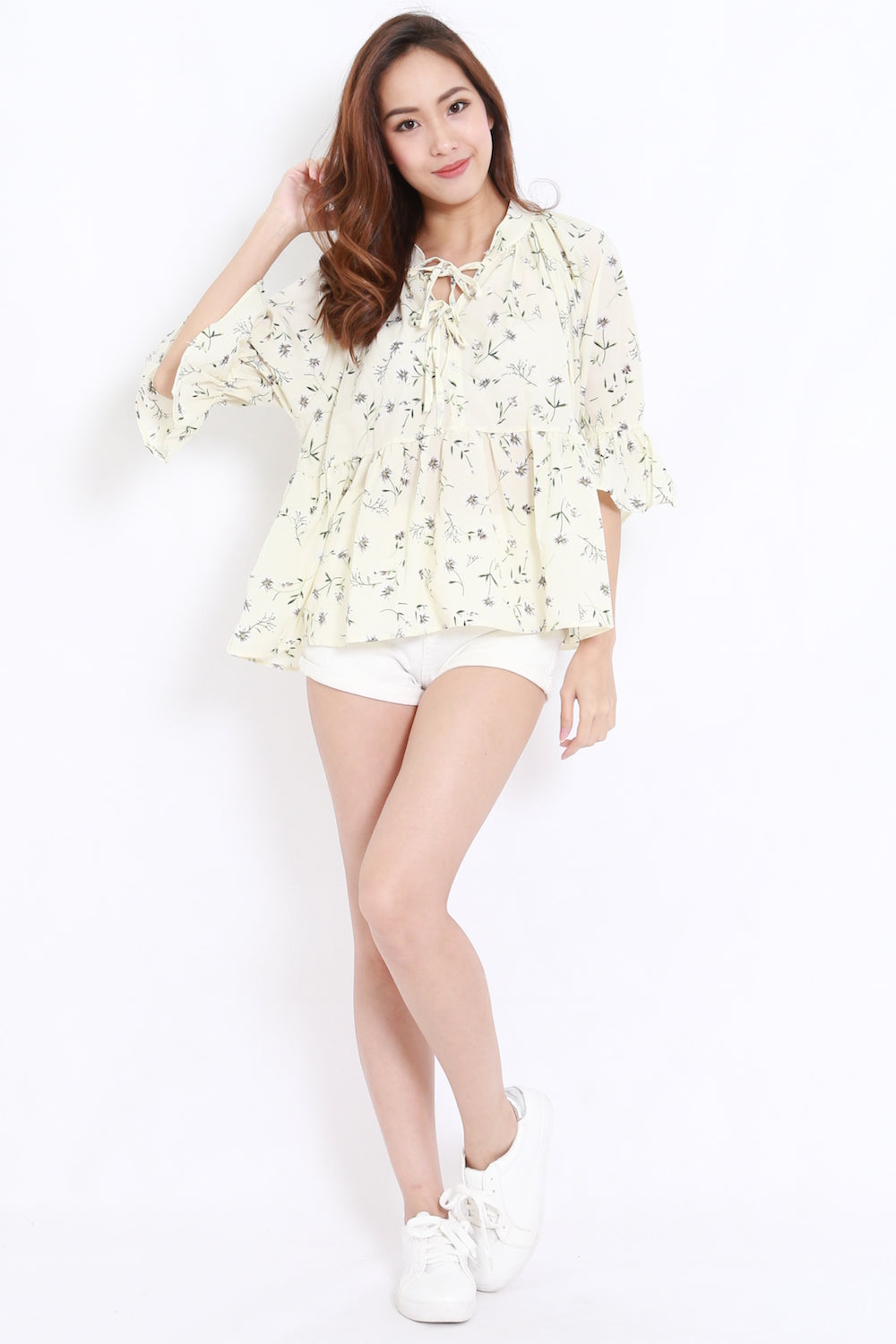 Floral Tie Front Chiffon Shirt (Cream)