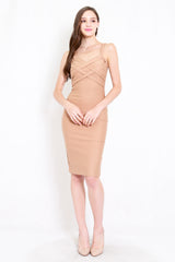 *Premium* Braided Midi Dress (Skin-Nude)