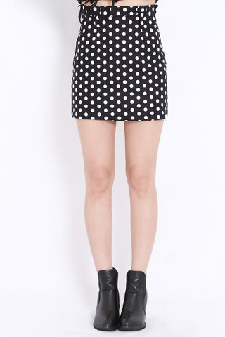 Polkadot High Waist Skirt (Black)