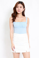 Ruched Front Top (Blue)