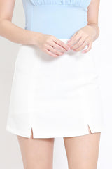 Vanessa Double Slit Skirt (White)