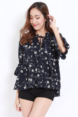 Floral Tie Front Chiffon Shirt (Navy)