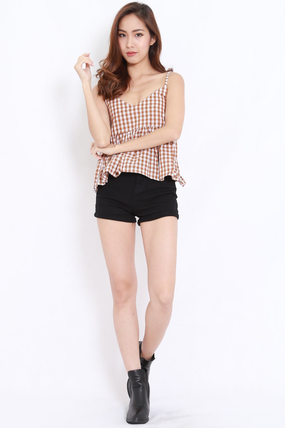 Gingham Babydoll Spag (Brown)