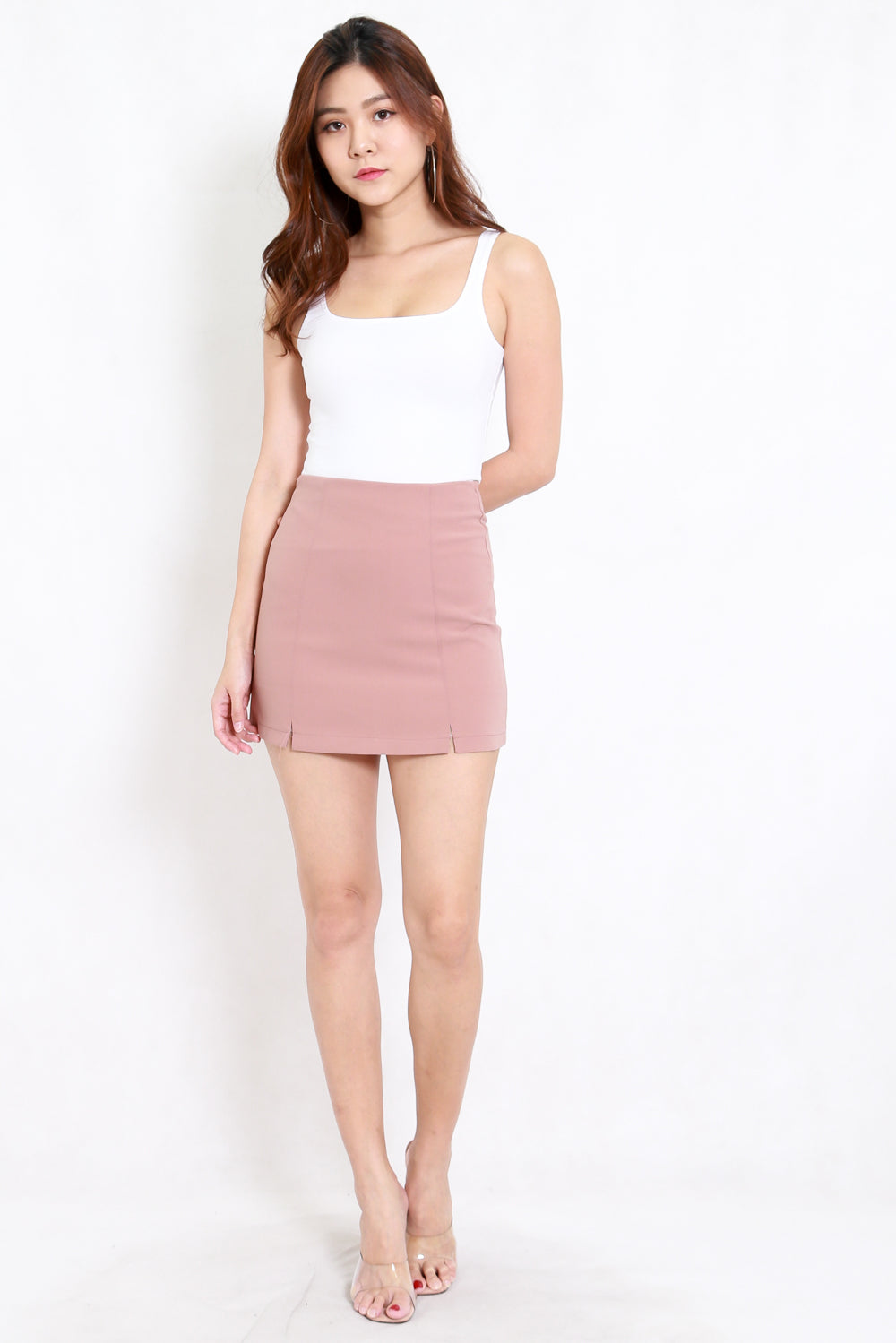 Vanessa Double Slit Skirt (Blush)