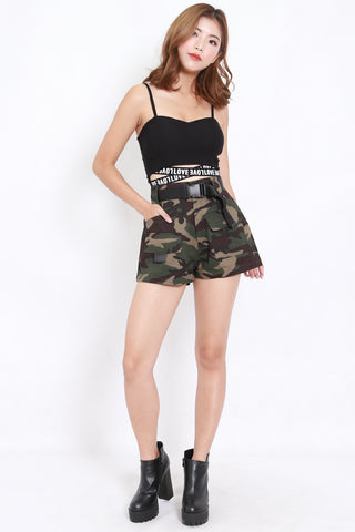 Camo Buckle Shorts (Green)