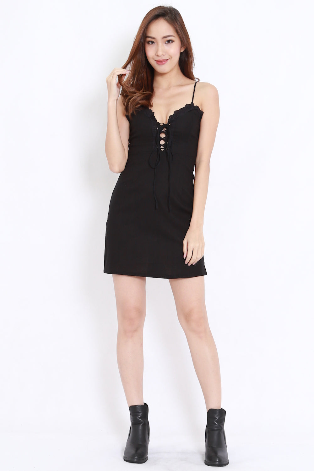 Sweetheart Lace Fitted Dress (Black)