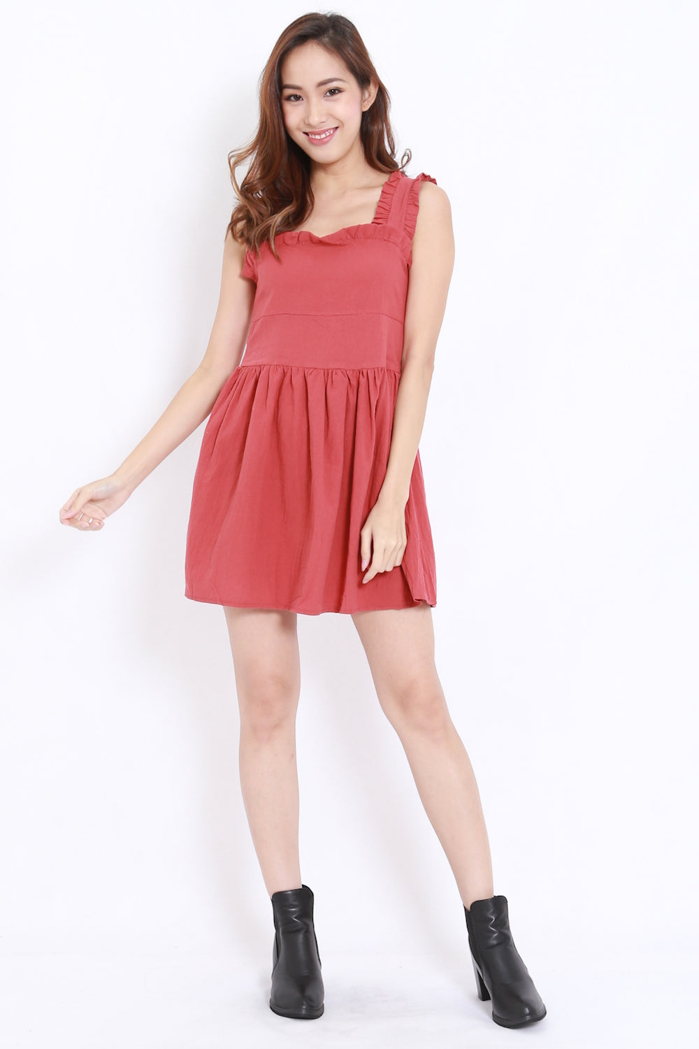 Linen Babydoll Dress (Rosewood)