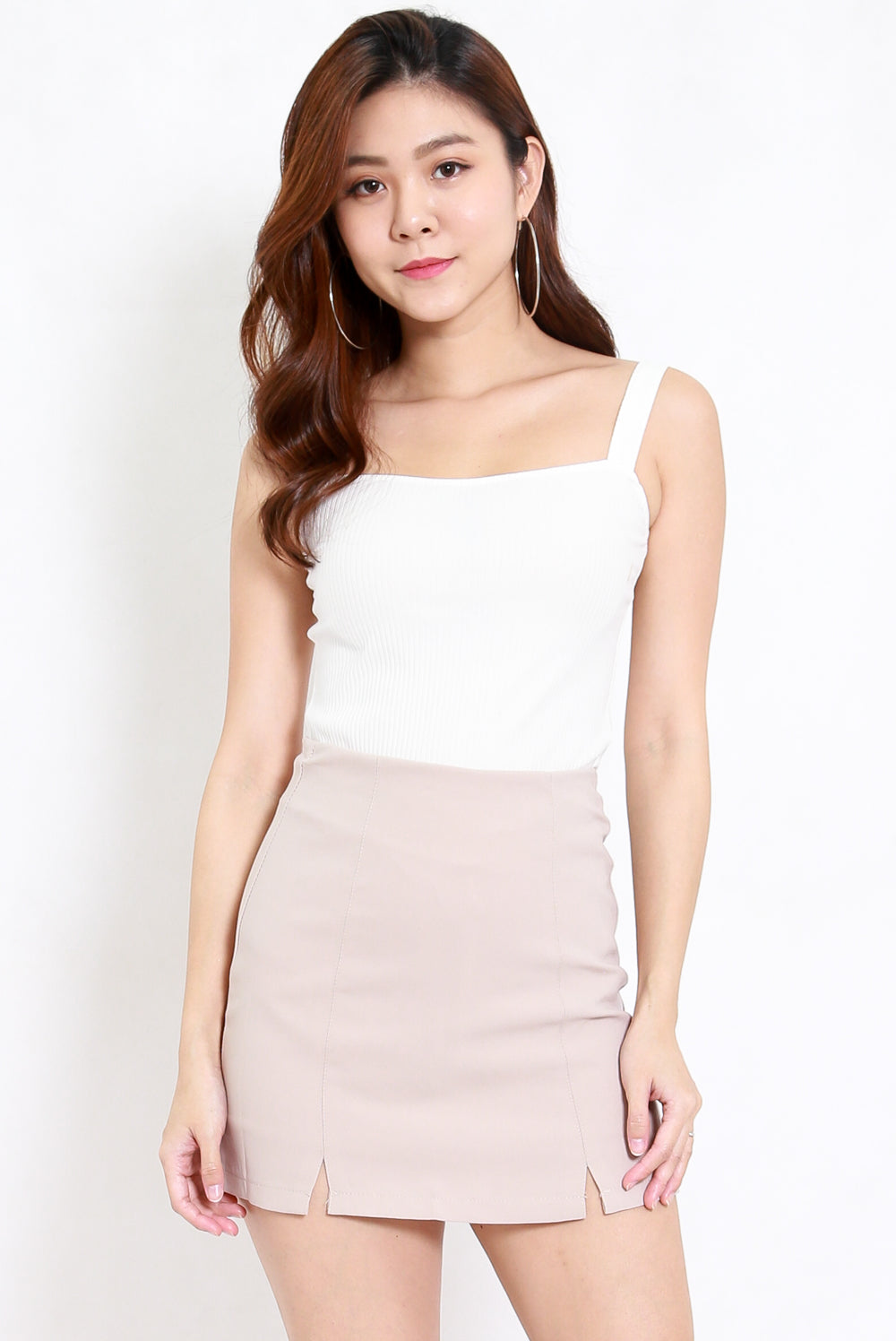 Vanessa Double Slit Skirt (Ivory)