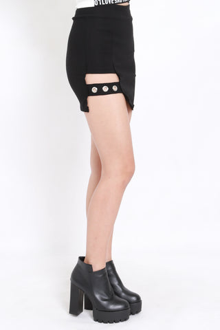 Cutout Ring Bandage Skirt (Black)