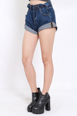 Cuffed Denim Shorts (Dark Blue)