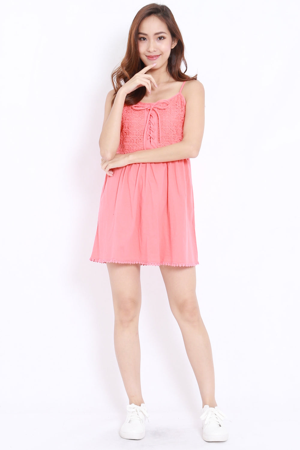 Crochet Lace Babydoll Dress (Coral)