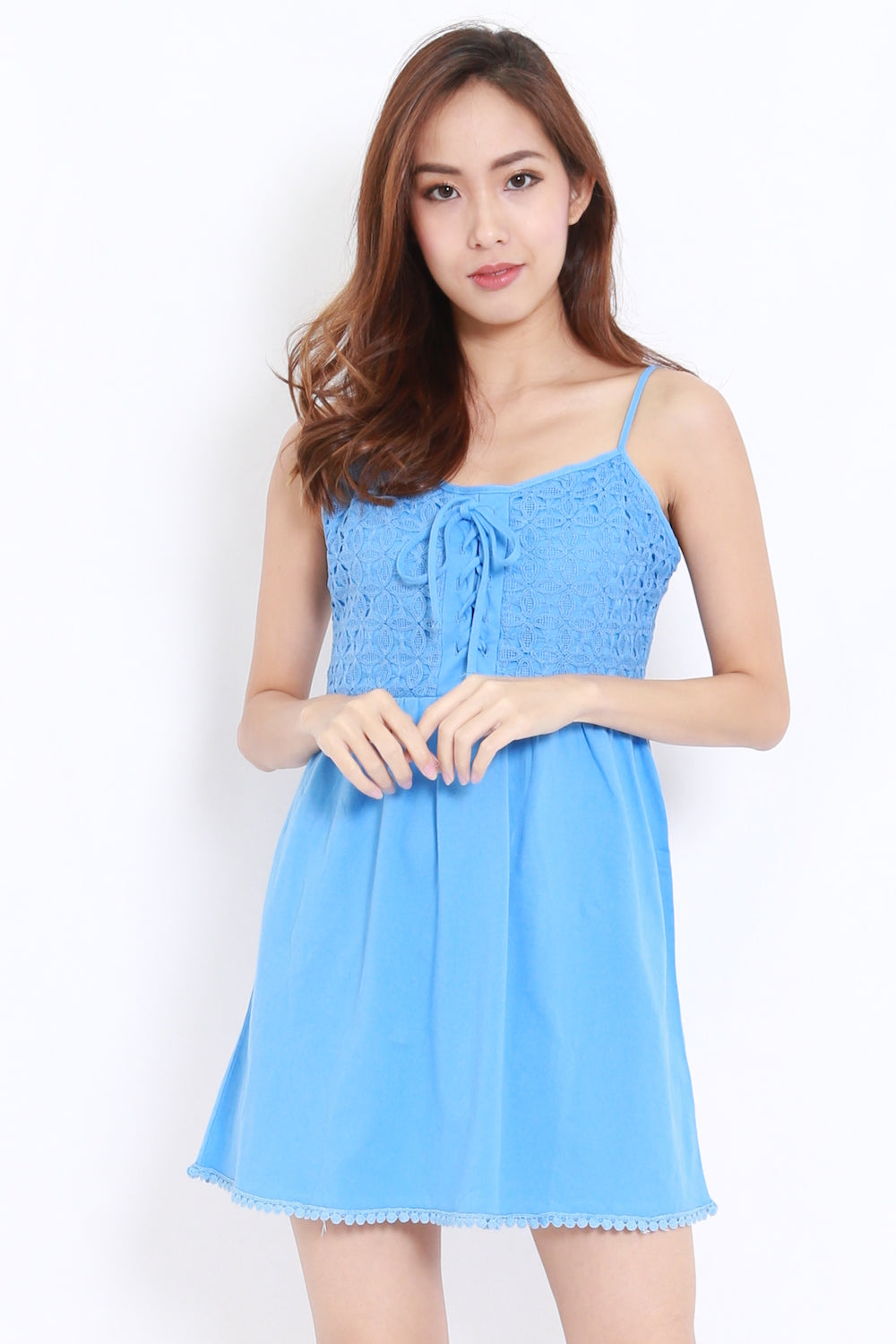 Crochet Lace Babydoll Dress (Blue)