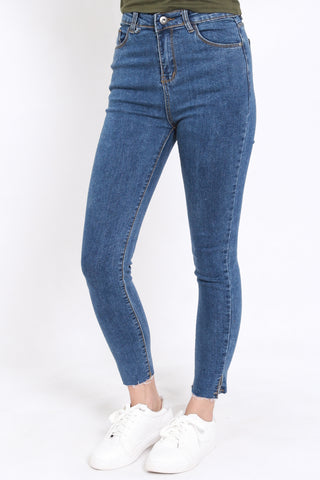 Slit Hem Denim Jeans (Blue)