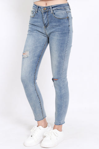 Cutout Washed Denim Jeans