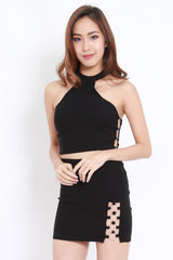 Side Buckle Halter Bralet (Black)