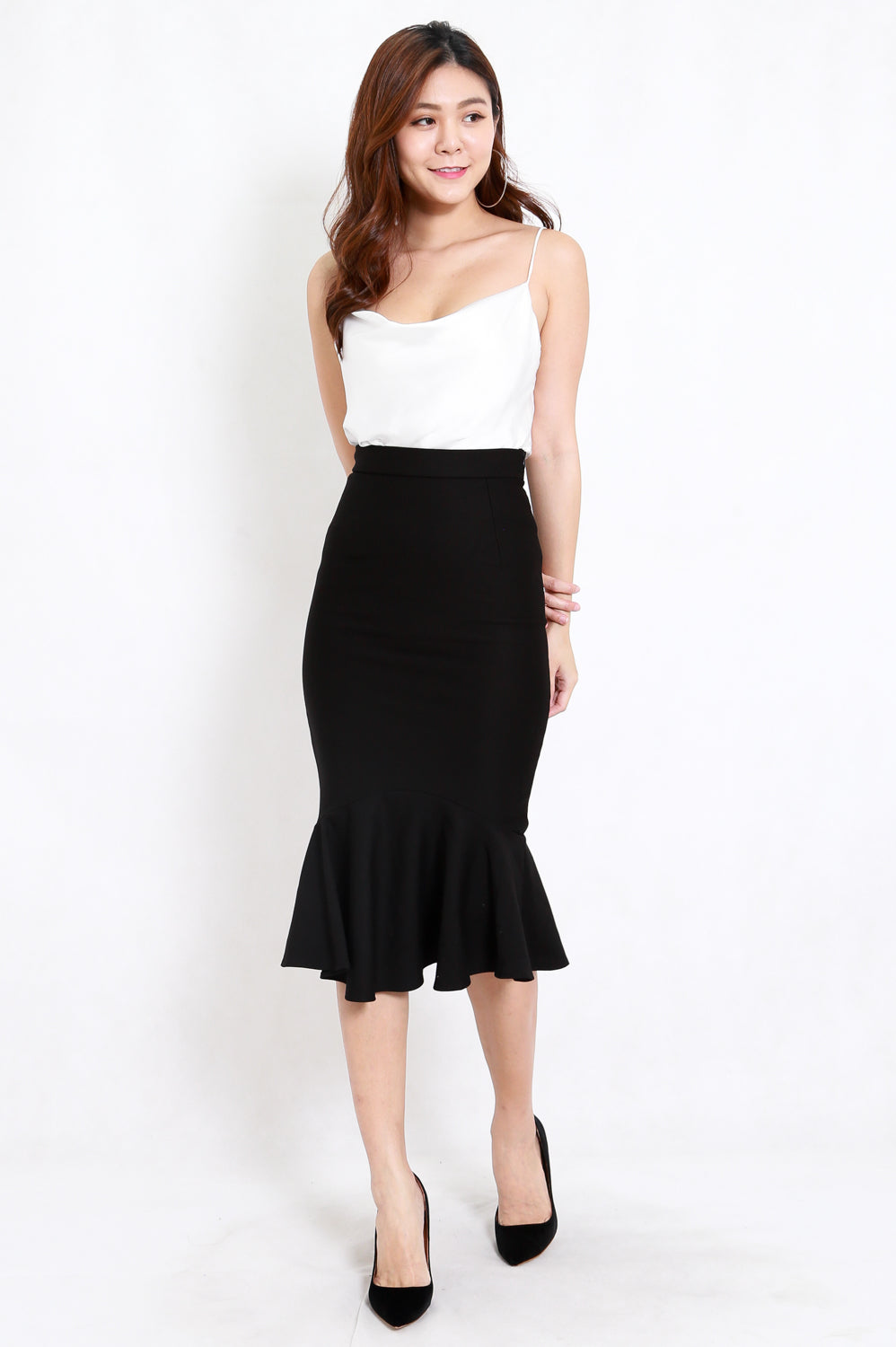 *Premium* Mermaid Midi Skirt (Black)