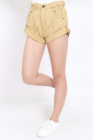 Cuffed Denim Shorts (Camel)