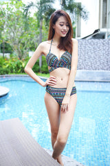 Cross Wrap Bikini (Green Tribal) -  - 4