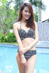 Cross Wrap Bikini (Green Tribal) -  - 3
