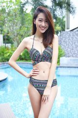 Cross Wrap Bikini (Green Tribal) -  - 5