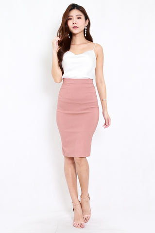 Pencil Midi Skirt (Tan-Nude)