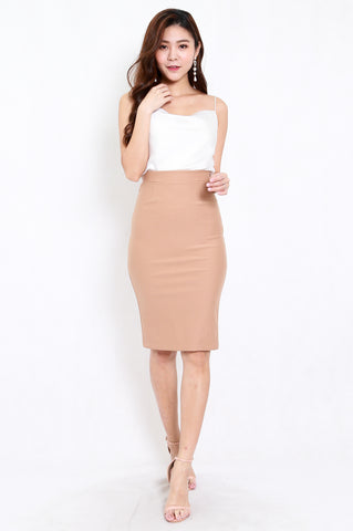 *Premium* Pencil Midi Skirt (Skin-Nude)