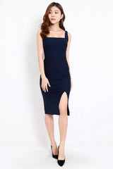 *Premium* Square Neck Slit Midi Dress (Navy)