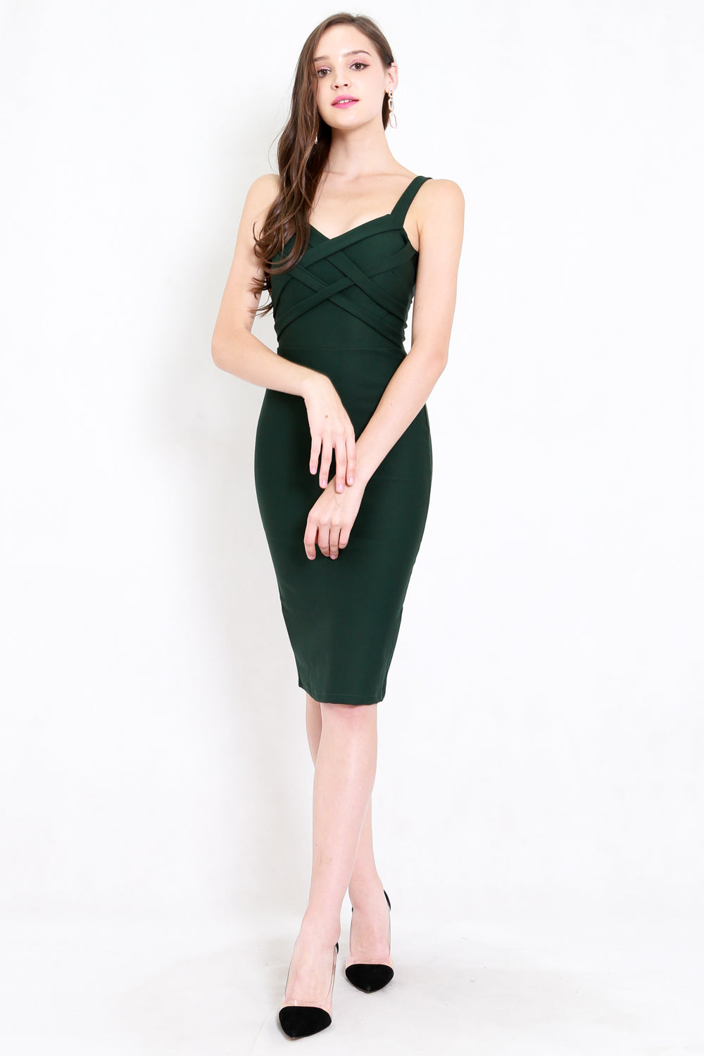 *Premium* Braided Midi Dress (Forest Green)