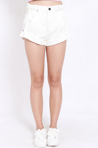 Cuffed Denim Shorts (White)