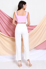 Louisa Square Neck Crop Top (Baby Pink)