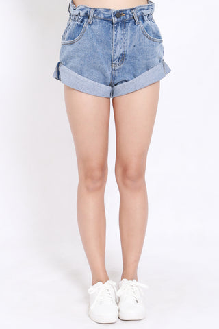 Cuffed Denim Shorts (Light Blue)