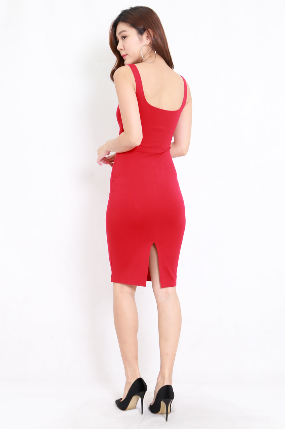 Basic Scoop Neck Midi Dress (Cherry)