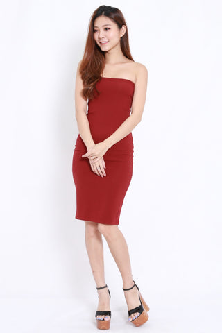 Basic Tube Midi Dress (Maroon)
