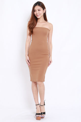 Basic Tube Midi Dress (Taupe)