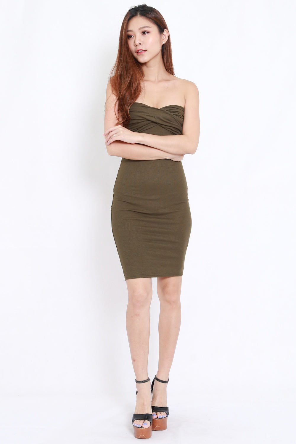 Sweetheart Tube Midi Dress (Olive)