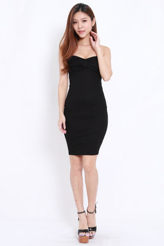 Sweetheart Tube Midi Dress (Black)