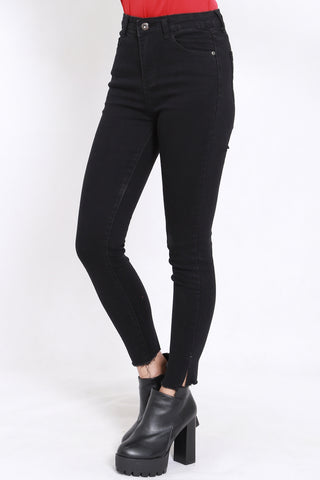 Slit Hem Denim Jeans (Black)