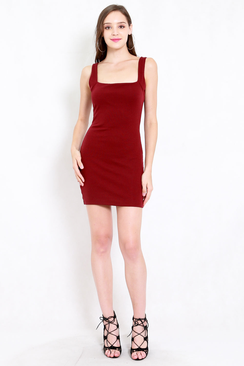 Square Neck Ribbed Dress (Maroon)