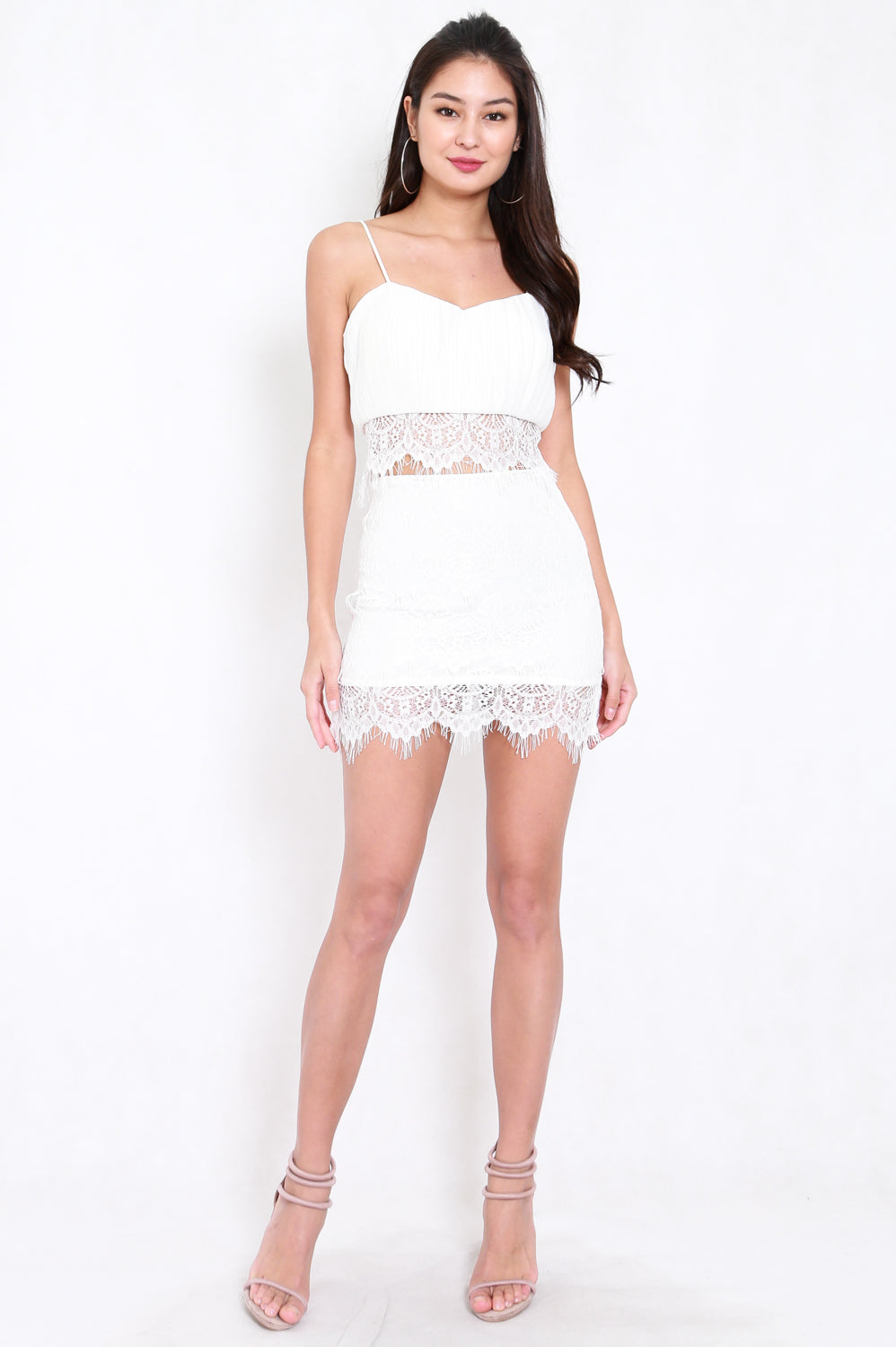 Pleated Lace 2pcs Set (White)