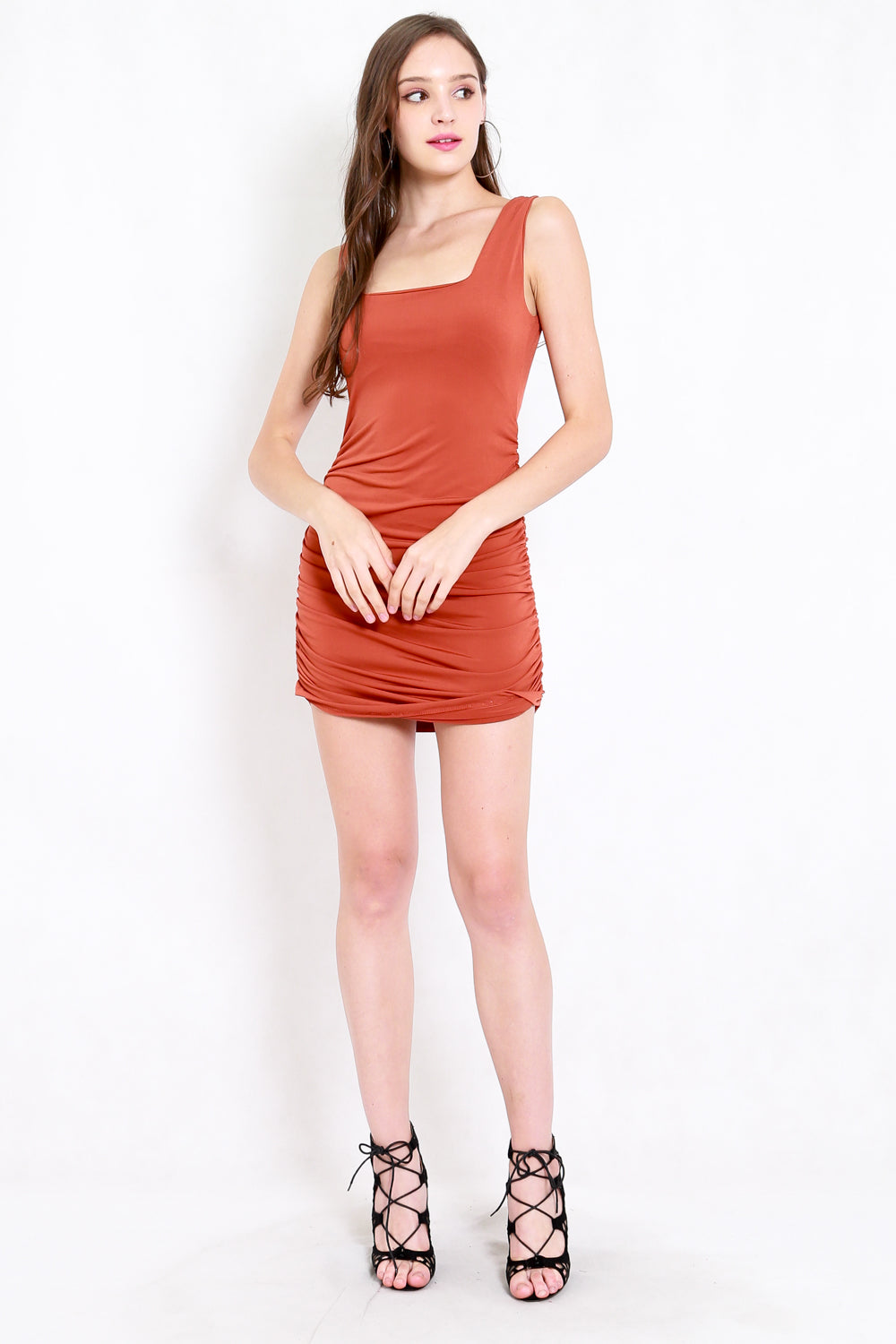 Square Neck Ruched Dress (Burnt Orange)