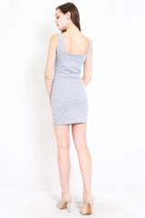 Square Neck Ribbed Dress (Grey)