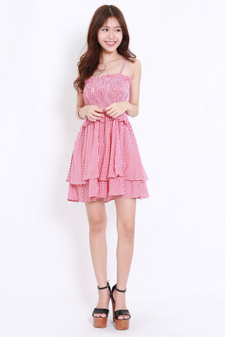 6770840d3 Smoked Babydoll Spag Dress (Red Gingham)